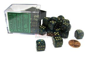 Scarab 12mm D6 Chessex Dice Block (36 Dice) - Jade with Gold Pips