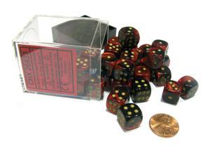 Gemini 12mm D6 Chessex Dice Block (36 Dice) - Black-Red with Gold Pips