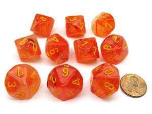 Pack of 10 Chessex Ghostly Glow D10 Dice - Orange with Yellow Numbers