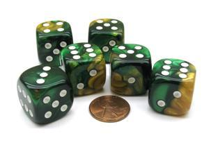 Gemini 20mm Big D6 Chessex Dice, 6 Pieces - Gold-Green with White Pips