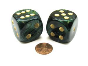 Scarab 30mm Large D6 Chessex Dice, 2 Pieces - Jade with Gold Numbers