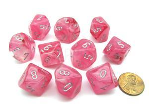 Pack of 10 Chessex Ghostly Glow D10 Dice - Pink with Silver Numbers