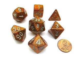 Polyhedral 7-Die Glitter Chessex Dice Set - Gold with Silver Numbers