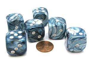 Lustrous 20mm Big D6 Chessex Dice, 6 Pieces - Slate with White Pips