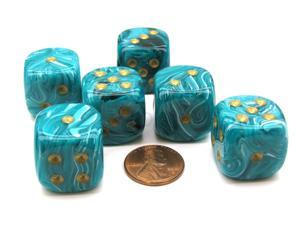 Vortex 20mm Big D6 Chessex Dice, 6 Pieces - Teal with Gold Pips