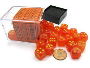 Ghostly Glow 12mm D6 Chessex Dice Blcok (36 Dice) -Orange with Yellow Numbers