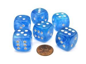Borealis 20mm Big D6 Chessex Dice, 6 Pieces - Sky Blue with White Pips