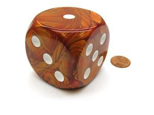 Lustrous 50mm Huge Large D6 Chessex Dice, 1 Piece - Bronze with White Pips