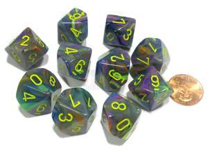 Set of 10 Chessex Festive D10 Dice - Rio with Yellow Numbers