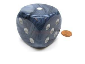 Phantom 50mm Huge Large D6 Chessex Dice, 1 Piece - Black/Blue with Silver Pips
