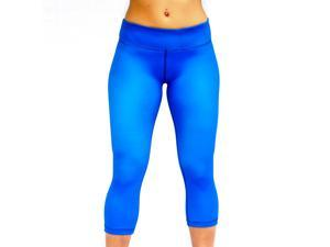 Seamless Capris (BLUE) Large - for YOGA and CROSSFIT Exercise