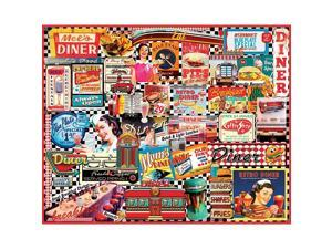 Diners Collage 1000 Piece Puzzle by White Mountain Puzzles