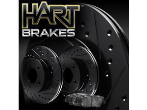 [FRONT KIT] Black Hart *DRILLED & SLOTTED* Disc Brake Rotors +Ceramic Pads F2959