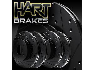 [2 FRONT + 2 REAR] Black Hart *DRILLED & SLOTTED* Disc Brake Rotors C2768