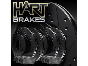 [FRONT+REAR KIT] Black Hart *DRILLED & SLOTTED* Brake Rotors +Ceramic Pads C1494