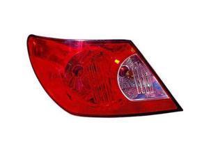 2007-2008 Chrysler Sebring::Sedan Driver Side Left Outer Red and Clear Tail Lamp Lens and Hsn, Sedan Model