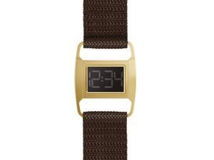 Void PXR5-PG/BW Women's Stainless Brown Nylon Band Black Dial  Watch