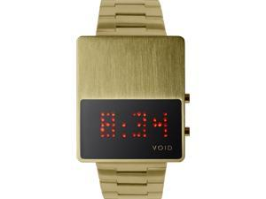 Void V01LED-GO/MG Unisex Stainless Steel Gold Bracelet Band Black Dial Watch