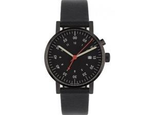 Void V03A-BL/BL/BL Unisex Stainless Steel Black Leather Band Black Dial Watch