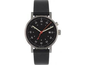 Void V03A-BR/BL/BL Unisex Stainless Black Leather Band Black Dial Watch