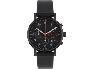 Void V03C-BL/BL/BL Unisex Stainless Steel Black Leather Band Black Dial Watch