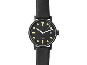 Void V03M-BL/BL Mens Stainless Black Leather Band Black Dial Watch