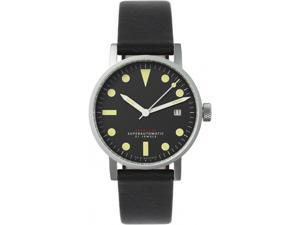 Void V03M-SI/BL Men's Stainless Steel Black Leather Band Black Dial Watch