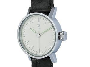 Void V03P-PO/CN/WH Women's Stainless Black Leather Band White Dial Watch