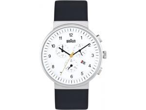 Braun BN-35WH Men's Stainless Black Leather Band White Dial Watch