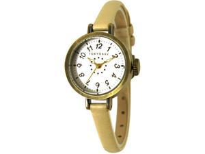 Tokyobay T2033-WH Womens Mabel Stainless Steel Case White Leather Strap White Dial Gold Watch