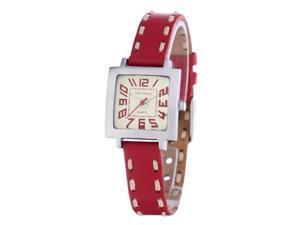 Tokyobay T205-RD Womens Tramette Stitch Red Leather Square Quartz Watch