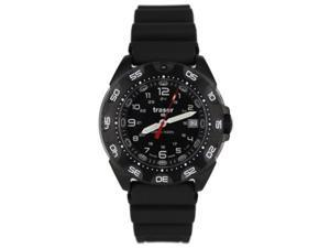 Traser 105476 Men's 	Stainless Steel Black Rubber Band Black Dial Watch