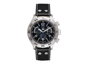 Traser 105035 Men's Chronograph Black Leather Band Black Dial Watch