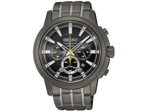 Seiko SSC391 Mens Solar Core Chronograph Bracelet Black Dial Grey Watch