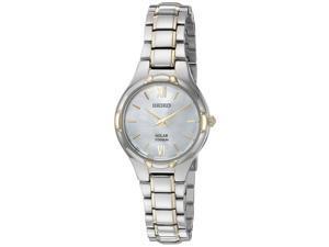 Seiko SUP292 Womens Solar Titanium Case and Bracelet Pearl Dial Two-tone Watch