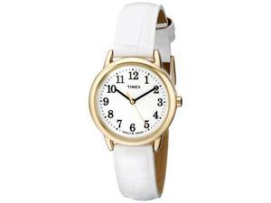 Timex T2P689 Women's Easy Reader White Leather Band White Dial Watch