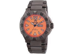 Reactor 53608 Men's Gamma Day and Date Gunmetal Bracelet Band Orange Dial Watch