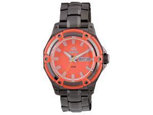 Reactor 61527 Women's Stainless Steel Gunmetal Bracelet Band Orange Dial Watch