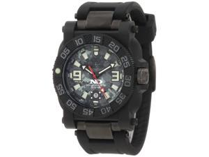 Reactor 73825 Men's Stainless Steel Black Rubber Band Black Dial Watch
