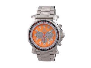 Reactor 91008 Men's Stainless Steel Silver Bracelet Band Orange Dial Watch