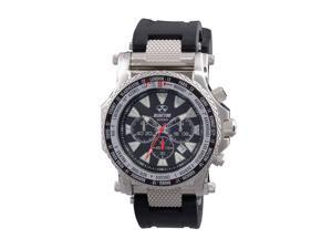 Reactor 91801 Men's Stainless Steel Black Rubber Band Black Dial Watch