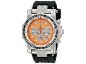Reactor 91808 Men's Stainless Steel Black Rubber Band Orange Dial Watch