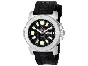 Reactor 76801 Men's Stainless Steel Black Rubber Band Carbon Fiber Dial Watch