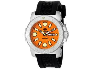 Reactor 76808 Men's Stainless Steel Black Rubber Band Orange Dial Watch