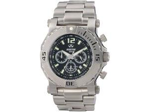 Reactor 93001 Men's Stainless Steel Silver Bracelet Band Black Dial Watch