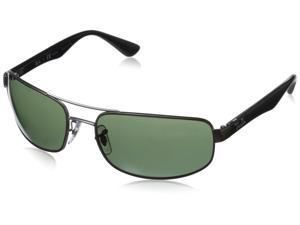 Ray-Ban RB3445-029/58/61 Men's Polarized Black Frame Polar Green Rectangular Sunglasses
