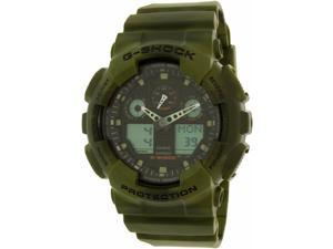 Casio G Shock GA100MM-3ACR Men's Green Resin Band Black Dial Watch