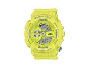 Casio G Shock GMAS110HT-9ACR UnisexS-Series Yellow Resin Band Gray Dial Watch