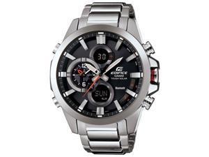 Casio EQB510D-1ACR Men's Edifice Bluetooth Stainless Silver Bracelet Band Black Dial Watch