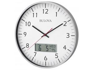 Bulova C4810 Aluminum Black Hands White Dial Silver Wall Clock